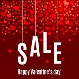 Mall för baner för försäljning för dag för vektorvalentin` s med röda hjärtor på mörk vinbakgrund Stock Illustrationer