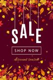 Mall för baner för höstrabattförsäljning Arkivbilder