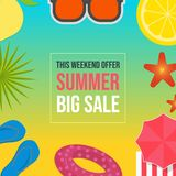Mall för baner för sommarförsäljningsrengöringsduk vektor illustrationer