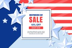 Mall för baner för vektor för USA självständighetsdagenförsäljning 4 av det Juli berömbegreppet royaltyfri illustrationer