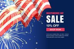 Mall för baner för vektor för USA självständighetsdagenförsäljning Feriebakgrund med flaggan, fyrverkerier 4 av det Juli berömbeg stock illustrationer