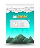 Mall för berg och för moln för orientering för design för vektorbroschyrreklamblad royaltyfri illustrationer