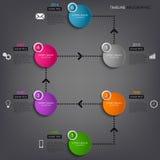 Mall för beståndsdel för information om tidslinje diagram färgad rund Arkivbilder