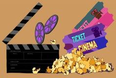 Mall för biobegreppsaffisch med popcorn vektor illustrationer