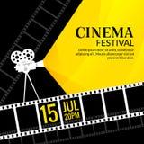 Mall för biofestivalaffisch Vektorcamcorder och linje videobandillustration Bakgrund för filmfestivalkonst Arkivbild