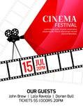 Mall för biofestivalaffisch Vektorcamcorder och linje videobandillustration Bakgrund för filmfestivalkonst Royaltyfria Bilder