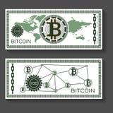 Mall för Bitcoin dollarsedel Fotografering för Bildbyråer