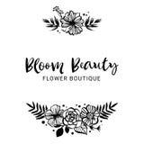 Mall för blommaboutiquelogo Blomskönhet Blom- botaniskt Co vektor illustrationer