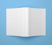 Mall för bok för mjuk räkning för vit tom på blått Royaltyfri Bild