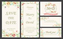 Mall för bröllopinbjudankort Royaltyfri Bild