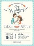 Mall för bröllopinbjudankort med den gulliga brudgummen och bruden royaltyfri illustrationer