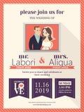Mall för bröllopinbjudankort med den gulliga brudgummen och bruden Arkivbilder
