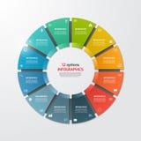 Mall för cirkel för pajdiagram infographic med 12 alternativ royaltyfri fotografi