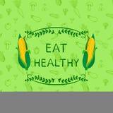 Mall för design för affisch för sund ätaVEKTOR Motivational, dragen sömlös modell för klotter hand med grönsaker och ram royaltyfri illustrationer