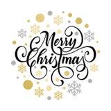 Mall för design för baner för affisch eller för välkomnande för inbjudan för julparti av guld- julgåvagåvor och garnering Vektor  vektor illustrationer