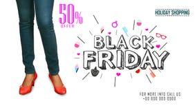 Mall för design för Black Friday försäljningsinskrift Svart fredag baner illustration Arkivfoton
