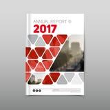 Mall för design för årsrapportbroschyrreklamblad, röd kulör vecto arkivbilder
