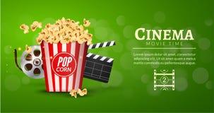 Mall för design för baner för filmfilm Biobegrepp med den popcorn-, bildband- och filmclapperen royaltyfri illustrationer