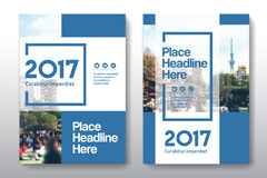 Mall för design för bokomslag för stadsbakgrundsaffär i A4 Arkivbilder