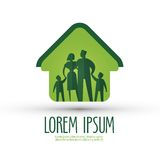 Mall för design för familjvektorlogo hus eller Royaltyfria Bilder