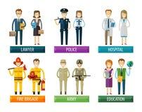 Mall för design för folkvektorlogo polis stock illustrationer