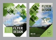 Mall för design för grönskabroschyrorientering Bakgrund för presentation för räkning för årsrapportreklambladbroschyr modern illu royaltyfri illustrationer
