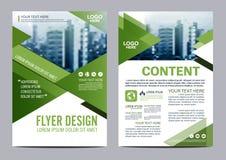 Mall för design för grönskabroschyrorientering Presentation för räkning för årsrapportreklambladbroschyr royaltyfri illustrationer