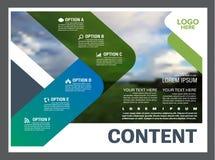 Mall för design för grönskapresentationsorientering Årsrapporträkningssida Arkivbild