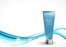 Mall för design för hudfuktighetsbevarande hudkräm kosmetisk Royaltyfri Bild