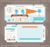 Mall för design för inbjudan för filmbiljettbröllop Arkivfoto