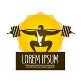 Mall för design för logo för vektor för viktlyftarm idrottshall eller royaltyfri illustrationer