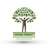 Mall för design för naturvektorlogo ekologi eller bio Arkivfoton