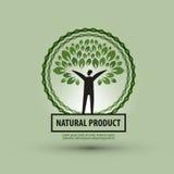 Mall för design för naturvektorlogo ekologi eller bio Royaltyfri Bild