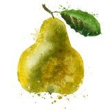 Mall för design för PÄRONvektorlogo frukt eller mat Royaltyfria Bilder