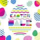 Mall för design för påskförsäljningsbaner Geometrisk bokstäver i äggform och färgrika påskägg vektor illustrationer