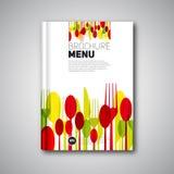Mall för design för restaurangmenykort, broschyrbokomslagdesign Royaltyfri Fotografi