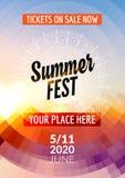 Mall för design för sommarfestivalreklamblad Design för mall för sommaraffischreklamblad färgrik stock illustrationer