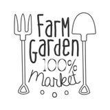 Mall för design för tecken för Promo för marknad för 100 procent lantgårdträdgård svartvit med Calligraphic text stock illustrationer