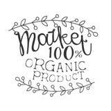 Mall för design för tecken för Promo för 100 procent organisk produktmarknad svartvit med Calligraphic text vektor illustrationer