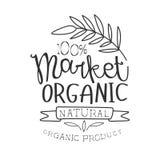 Mall för design för tecken för Promo 100 procent för organisk marknad svartvit med Calligraphic text stock illustrationer