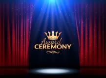 Mall för design för utmärkelseceremoni Utmärkelsehändelse med röda gardiner Design för kapacitetspremiärceremoni stock illustrationer
