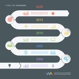 Mall för design för vägtimeline infographic med färgsymboler också vektor för coreldrawillustration Arkivfoton