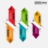 Mall för design för vektor för Infographic pilmoment Royaltyfri Foto