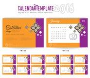 Mall 2016 för design för vektor för skrivbordkalender Royaltyfria Bilder