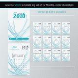 Mall 2016 för design för vektor för skrivbordkalender Stor uppsättning av 12 månader Arkivbilder