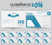 Mall 2016 för design för vektor för skrivbordkalender Stor uppsättning av 12 månader Veckan startar söndag Arkivbilder