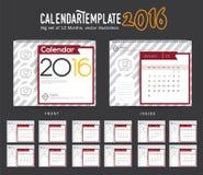 Mall 2016 för design för vektor för skrivbordkalender Stor uppsättning av 12 månader Veckan startar söndag Arkivfoton