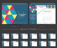 Mall 2016 för design för vektor för skrivbordkalender Stor uppsättning av 12 månader Veckan startar söndag Arkivbild