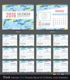 Mall 2016 för design för vektor för skrivbordkalender Stor uppsättning av 12 månader Veckan startar söndag Royaltyfri Foto