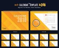Mall 2016 för design för vektor för skrivbordkalender Stor uppsättning av 12 månader Veckan startar söndag Royaltyfria Foton